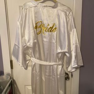 White Bride robe with gold lettering